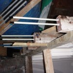 Rods protruding from joists